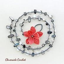 collar boho romantico con flor naranja en ganchillo