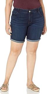 """سروال برمودا نسائي كبير الحجم من Lee مطبوع عليه عضلات البطن مطبوع عليه عبارة """"Midrise Total Freedom """""""