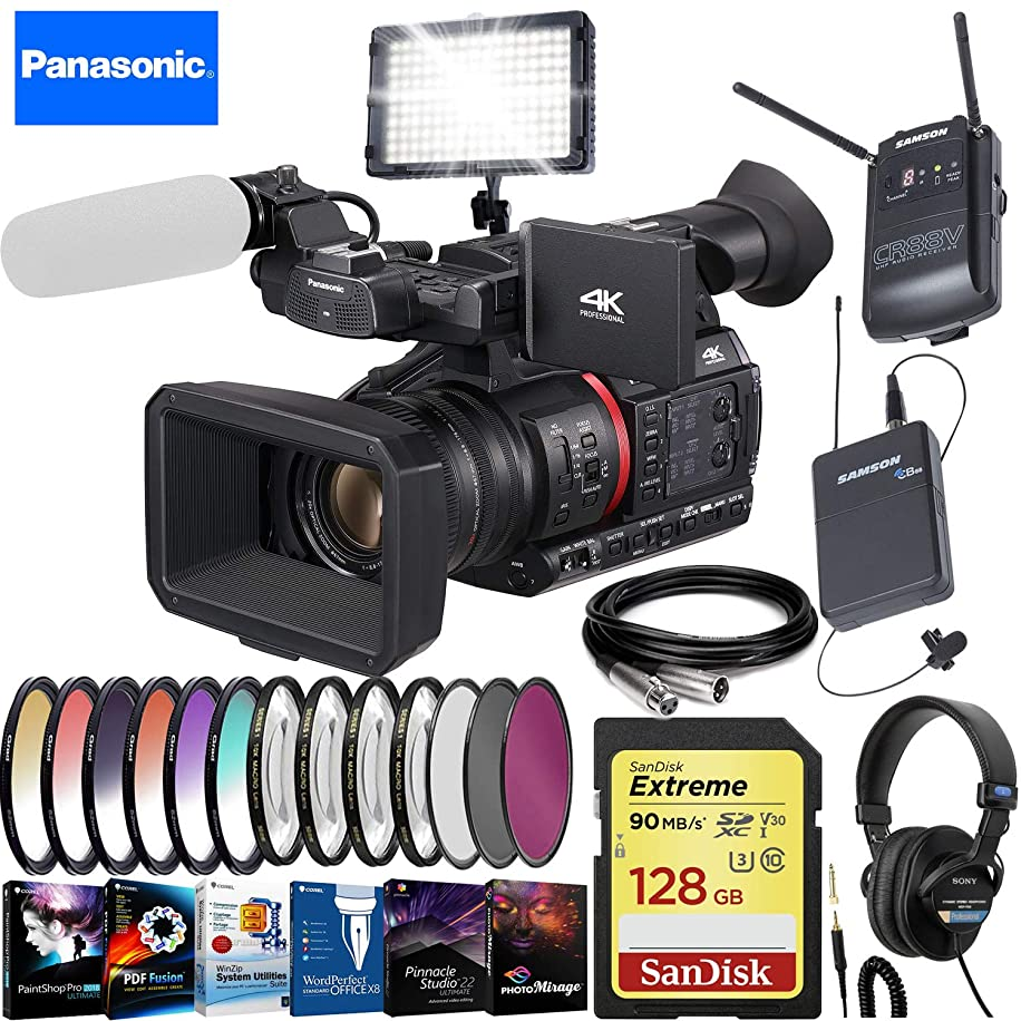 Panasonic?AG-CX350 4K Camcorder - Creative Filter Kit - LED Video Light - Video Editing Software - Wireless Lavalier Sound Recording - Sony Studio Headphones - Extreme Accessory Bundle uuos7553937489
