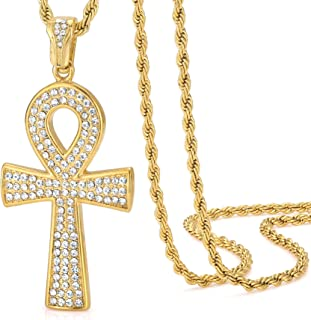 ROWIN&CO Hip Hop Jewelry 18k Gold Plated Iced Out Bling Ankh Cross Praying Hands Coin Medal Classic Religious Egyptian CZ ...