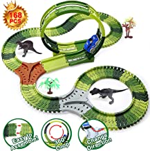 Dinosaur Toys Race Tracks for Kids, 360° Route Race Car Flexible Track Set, Children's DIY Variety Assembly Flexible Tracks, Perfect Birthday Toys for 3 4 5 6 Years Old Kids Boys and Girls(168Pcs)