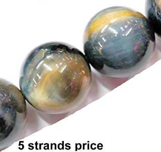 Malahill Gemstone Beads for Jewelry Making, Sold per Bag 5 Strands Inside, Grey Tiger Eyes Stone 8mm