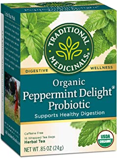 Traditional Medicinals Organic Peppermint Delight Probiotic Tea (Pack of 6), Supports Healthy Digestion, 96 Tea Bags Total