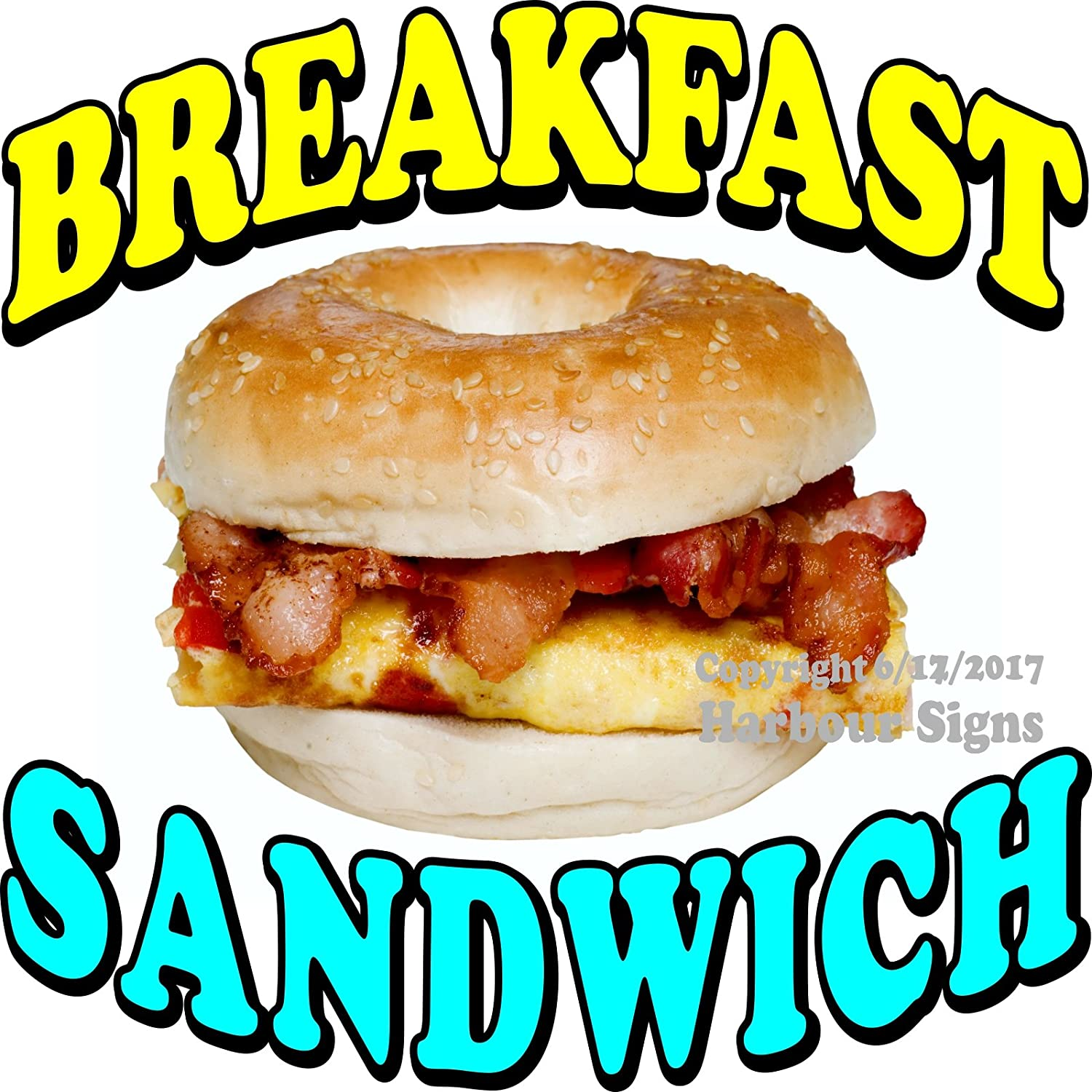 Max 61% OFF Harbour Signs Decal Breakfast High quality Sandwich Concession Bagel Food for