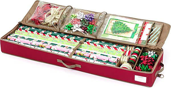 Covermates Deluxe Gift Wrap Organizer Holds Up To 15 Rolls Accessories 3 Year Warranty Red