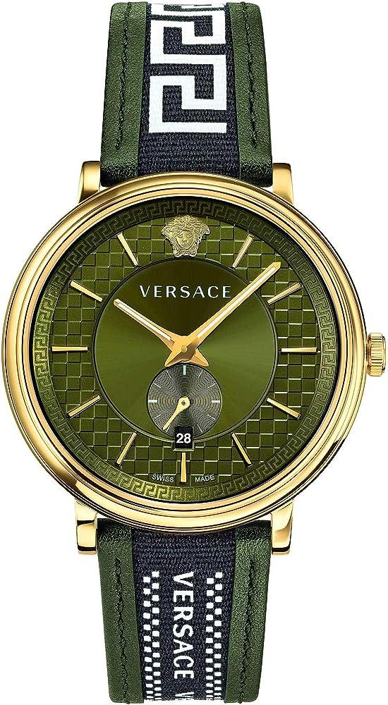 Versus versace orologio da uomo cassa in acciaio inossidabile 316l placcato oro e cinturino in pelle VEBQ01519