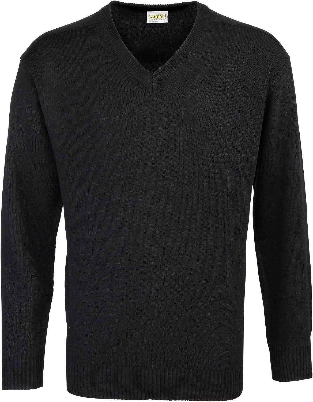 RTY Workwear Men's Acrylic V Neck Long Sleeve Sweater Black L