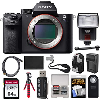Sony Alpha A7S II 4K Wi-Fi Digital Camera Body with 64GB Card + Battery & Charger + Backpack + Tripod + Flash + Remote + Kit