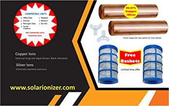 Copper Anode - 2 Replacement anodes with Free 2 Basket & 2 Wing Screw - fits Many Solar Ionizer Brands