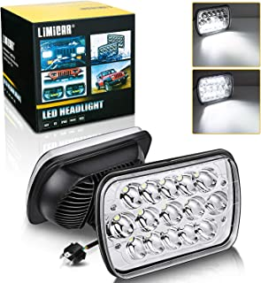 LIMICAR 7x6 Led Headlights 5x7 Led Headlight 7x6 Headlamp H6054 Led Headlights Pair 7x6 Led Headlights 6054 Led Headlight H5054 Led HeadLamp Hi/Low Sealed Beam for Jeep Cherokee Xj Wrangler Chevy S10