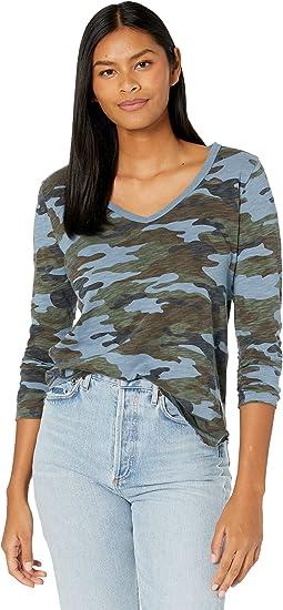 Camo Long Sleeve V-Neck Soft Cotton Slub T-Shirt