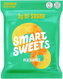 SmartSweets Peach Rings, Candy with Low Sugar (3g), Low Calorie (100), Plant-Based, Free From Sugar Alcohols, No Artificia...