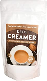 Keto Creamer with MCT Oil, Dairy Free Super Creamer (Sweetened Coconut Sugar, 8 OZ)