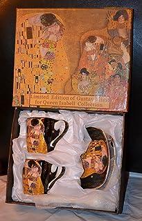 6 tasses à expresso en porcelaine - Motif: « Le Baiser » de Gustav Klimt