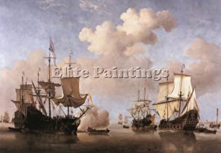 VELDE WILLEM VAN YOUNGER CALM DUTCH SHIPS COMING ANCHOR ARTIST PAINTING CANVAS 28x40inch MUSEUM QUALITY
