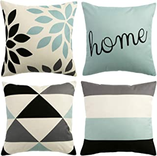 Aopota Throw Pillow Cases Decorative Soft Square Geometric Style Throw Pillow Cover Cushion Case for Sofa 18 x 18 Inch Set of 4