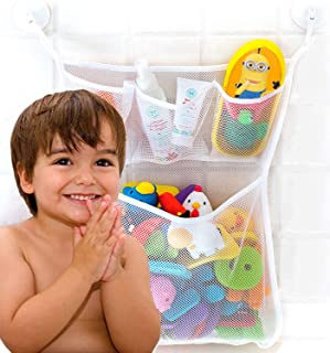 Bath Toy Organizer for Tub, Extra Durable, Washable and Quick Dry Bath Toy Storage Hanging, Mesh Bath Toy Holders for The Tub, Bathtub Toy Holder with 4 Suction Cup Hooks, Baby Bath Net for Tub Toys