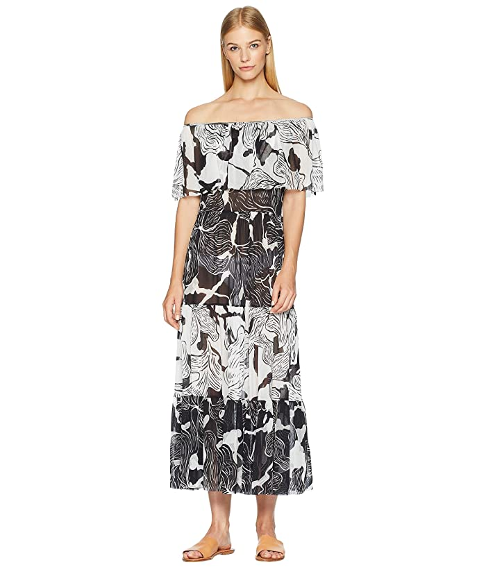 FUZZI Off the Shoulder Ruffle Patchwork Cover-Up (Nero) Women