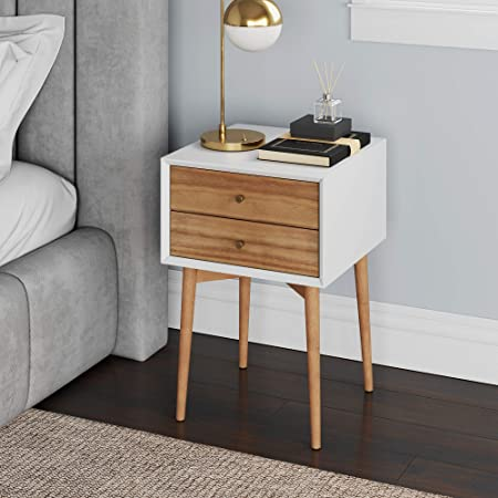 Nathan James Harper Mid Century Side 2 Drawer Nightstand Accent Or End Table With Storage Wood White Brown Furniture Decor