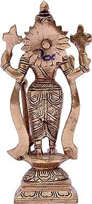 Standing Lord Vishnu Brass Statue (Brass Antique)