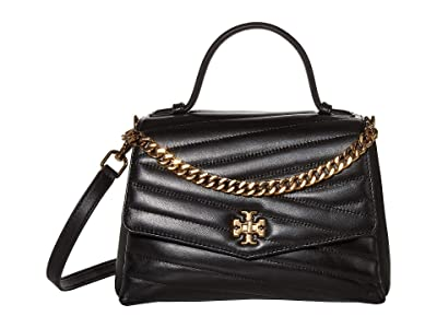 Tory Burch Kira Chevron Top-Handle Satchel (Black) Handbags