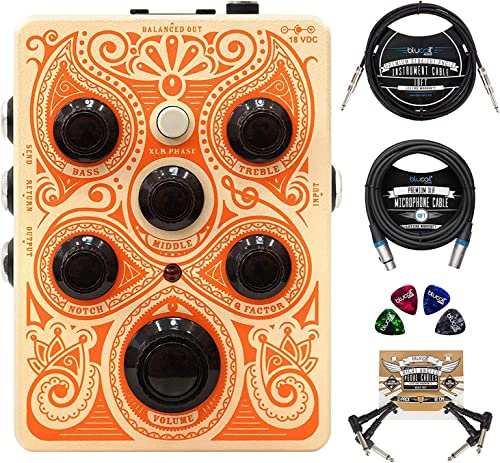 high quality Orange Acoustic Pedal with Buffered FX Loop Bundle with Blucoil 10-FT Straight Instrument Cable (1/4in), 2-Pack of Pedal outlet sale Patch Cables, online sale 10-FT Balanced XLR Cable, and 4-Pack of Celluloid Guitar Picks online sale