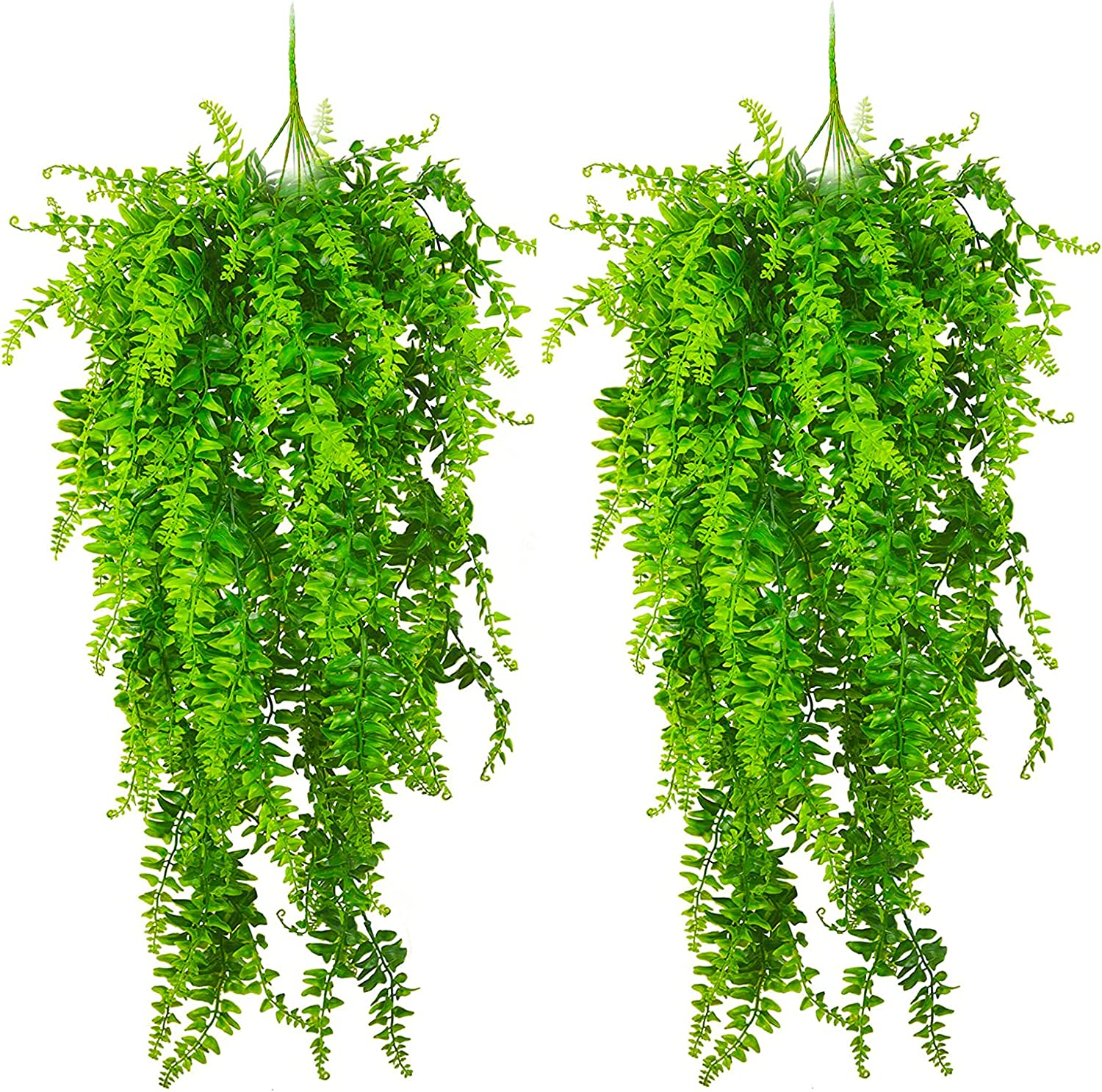 Artificial Plants Vines, Ferns Persian Rattan Fake Hanging Plant, Faux Hanging Boston Fern Flowers Vine, Outdoor UV Resistant Plastic Plants for Wall Indoor Hanging & Wedding Garland Décor (2 PCS)