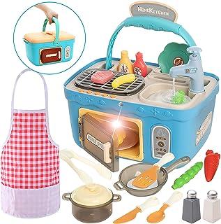 JOYIN Juego de picnic para niños, juego de cocina, cesta de picnic portátil, juguetes con música y luces, cambio de color,...