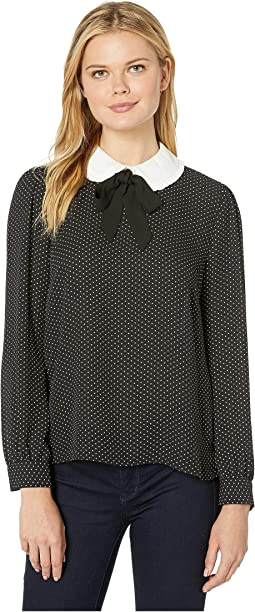 Long Sleeve Refined Pindot Collared Blouse