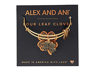 Alex and Ani Path of Symbols-Four Leaf Clover IV Bangle (Rafaelian Gold) Bracelet