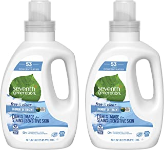 Sponsored Ad - Seventh Generation Concentrated Laundry Detergent, Free & Clear Unscented, 40 Oz, Pack of 2 (106 Loads)