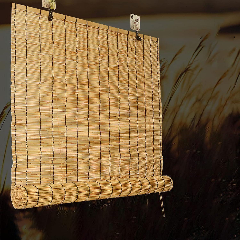 SAMUR Cortinas de Caña Natural, Estores de Bambú Cortina Decorativa 70% Sombreado Persianas Romanas, para Patio/Cocina/Puertas/Porche, Personalizable