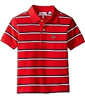 Lacoste Kids - Short Sleeve Fine Stripe Pique Polo (Toddler/Little Kids/Big Kids)