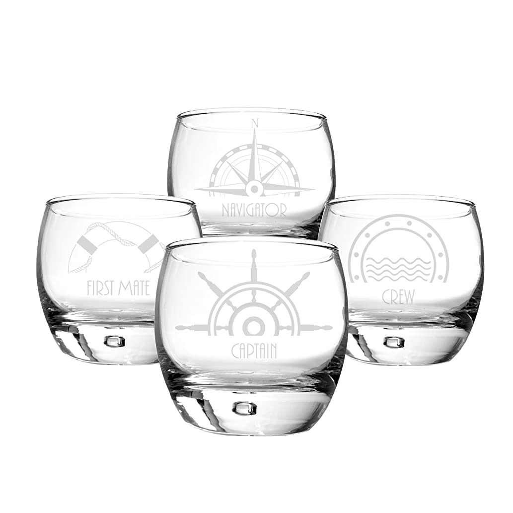 暴露するしばしば抑制するCathy's Concepts Nautical Heavy Based Whiskey Glasses (Set of 4)