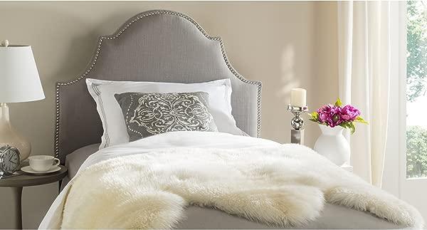 Safavieh Hallmar Arctic Grey Upholstered Arched Headboard Silver Nailhead Twin