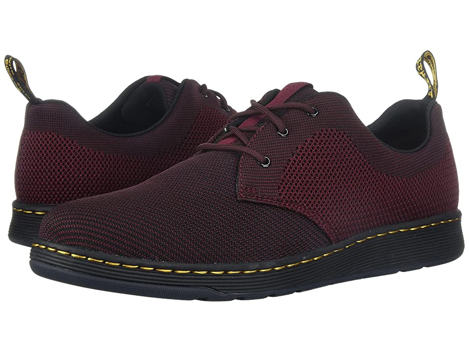 Dr. Martens Cavendish Knit 3-Eye Shoe (Oxblood/Black + Oxblood Knit) Shoes