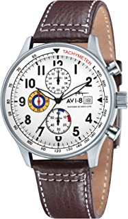 Men's Hawker Hurricane 42mm Brown Leather Band Steel Case Quartz White Dial Analog Watch AV-4011-01