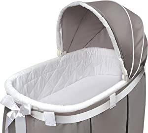 Wishes Oval Rocking Baby Bassinet with Bedding, Storage, and Pad