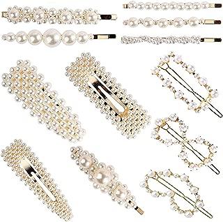 Pearl Hair Barrettes for Women Girls, 12pcs Fashion Sweet Artificial Pearl Hair Clips Decorative Bobby Pins Alligator Clips Hair Accessories