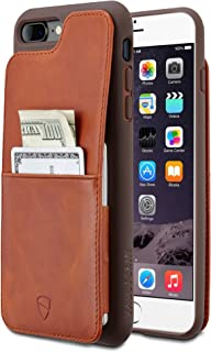 Vaultskin Eton Armour iPhone case with Leather Wallet (Cognac, iPhone 7/8 Plus)