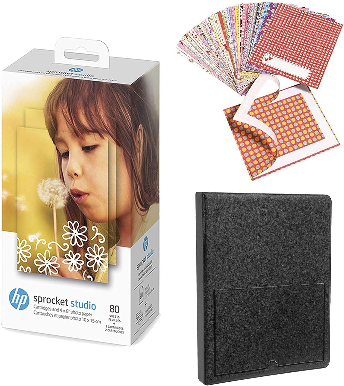 HP Sprocket Studio 4x6 Photo Paper & Cartridges (80 Sheets - 2 Cartridges) Starter Bundle