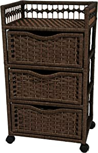 """Oriental Furniture 31"""" Natural Fiber Chest of Drawers on Wheels - Mocha"""
