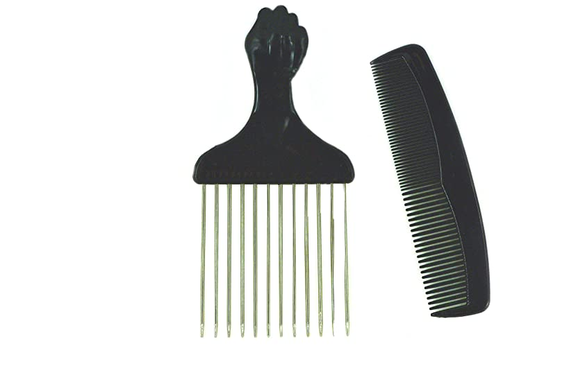 Afro Hair Pick w/ Black Fist and Comb Set- Metal African American Comb