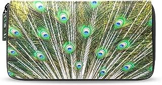 Coin Purse Peacock Feather Womens Long Leather Wallet Passport Clutch Purse Handbag