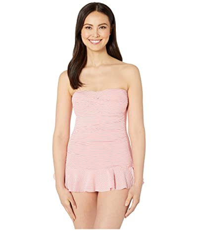 LAUREN Ralph Lauren Seersucker Stripe Twist Skirted One-Piece (Coral Reef) Women