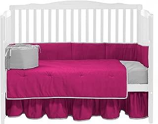 Baby Doll Bedding Solid Reversible Crib Set, Hot Pink/Grey