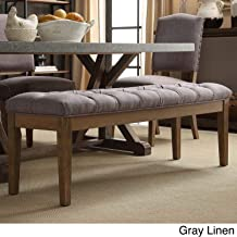 Inspire Q Benchwright Premium Tufted Reclaimed 52-inch Upholstered Bench by Artisan Grey