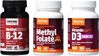 Jarrow Formulas Supplement Bundle (3 Items) – Methyl B12 + Methyl Folate + Vitamin D3 5000iu