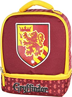 Harry Potter Lunch Box - Gryffindor, Slytherin, Ravenclaw, Hufflepuff Insulated Dual Compartment Tote Bag (Gryffindor)