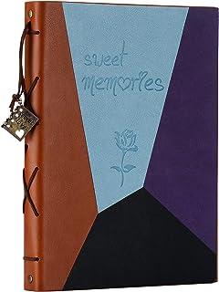 Scrapbook Album,ZEEYUAN Leather Vintage Photo Album Memories DIY Scrap Book Refillable 60 Pages Large Family Photo Book for Anniversary Valentines Birthday(Blue Purple,L)